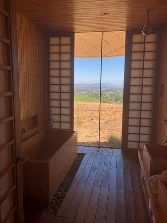 Suite shogun banheiro com uma banheiro de madeira e vista
