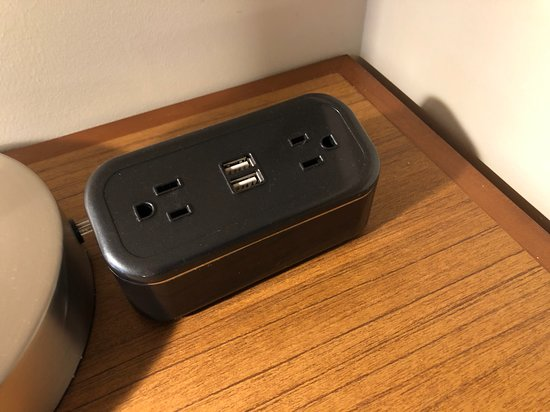 USB port and charger in room.