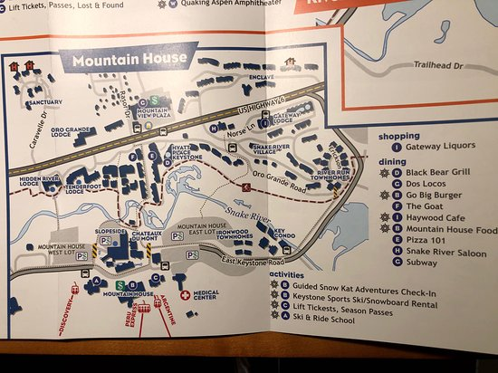 Mountain House ski area at Keystone pictured with Hyatt Place in middle of photo.  Walk to slopes is 7 minutes in ski boots, direct pathway.