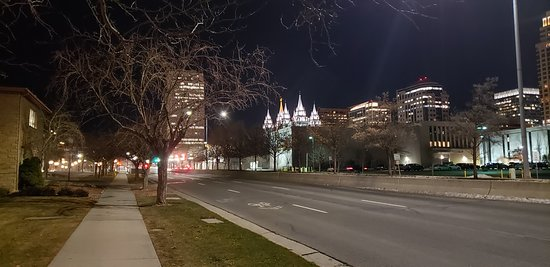 The Temple from a distance at night.