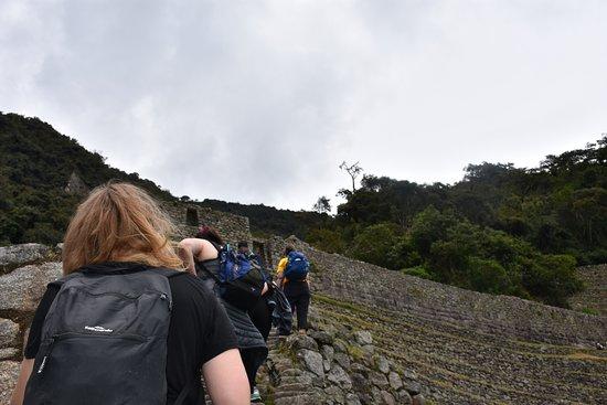 Glamping Peru Treks: Me trekking with my friend in front!