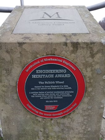 Falkirk Wheel, opened by Queen Elizabeth II in 2002. Engineering Heritage Awarded.