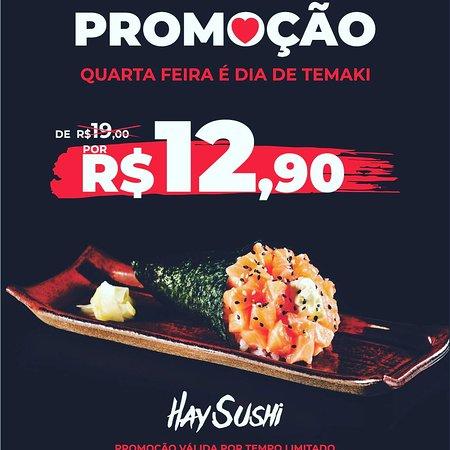 Promoção da quarta-feira temaki filadelfia R$12,90, consulte disponibilidade da promoção.