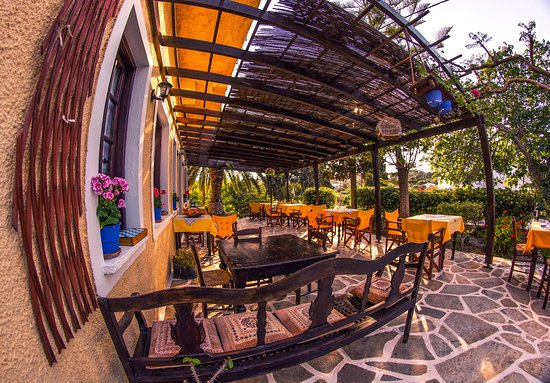 Vagia Hotel Restaurant: Would you like to relax under the sounds of cicadas and enjoy a cold beer or a traditional pie? (or both?)