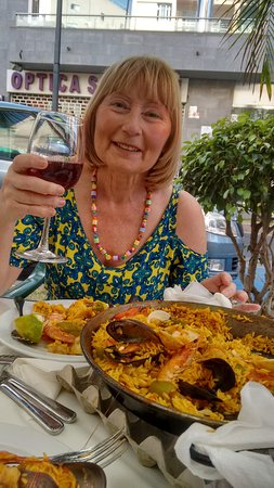 A wonderful birthday lunch - mixed paella with a jug of delicious sangria