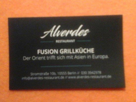 Visitenkarte Des Lokals Picture Of Restaurant Alverdes