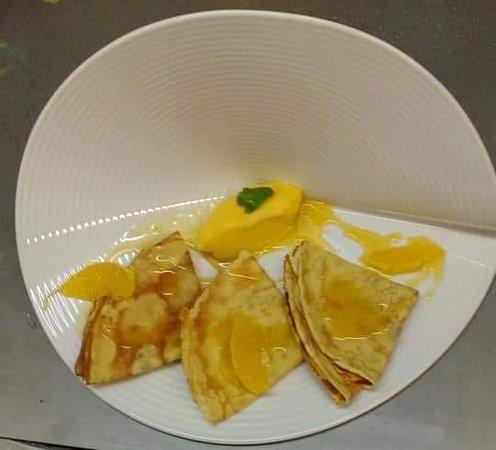 Auberge de La Forie: Crêpes Suzette et sorbet mandarine