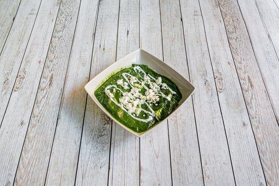 Suave curry de Espinaca con queso y nata