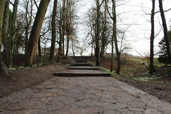 Astley Hall: Steps from trail to hall