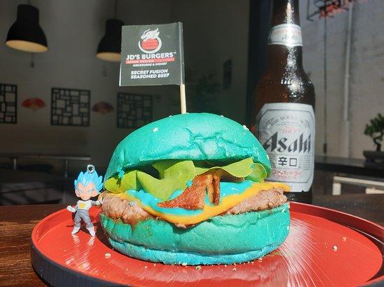Australia's 1st and Only Super Saiyan Blue Burger with JD's Secret Fusion Sauce