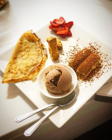 Café Gourmand; French dessert with real Italian espresso served with mini-desserts (sweet crepe, tiramisù, cantucci biscuits, artisanal chocolate ice cream)