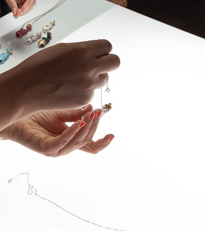 Hand-crafted porcelain art jewelry.