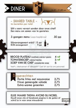 Leende, The Netherlands: Dinerkaart shared table