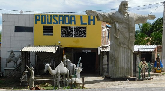 "Jesus at the Inn. Roadside sculptor along BR 304 In Lajes at the pousada ( inn ) ""LH """