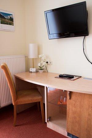 Pension Zur Muehle: Schreibtisch mit Kühlschrank