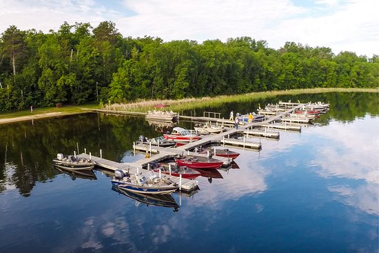 Bowen Lodge's marina facility on Cutfoot Sioux Lake is the best in the area, providing safe harbor and easy fishing access.