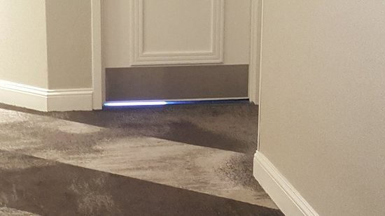 Gap under door is too big and let way too much light in...