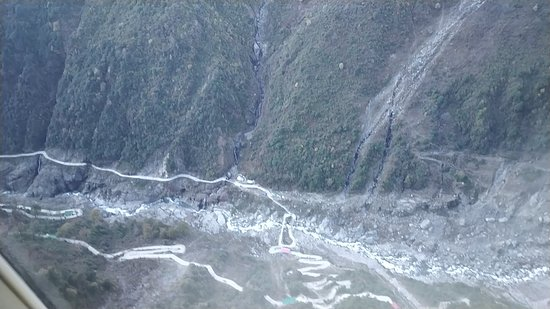 Kedarnath, India: Arial View of Mandakini River from Helicopter...