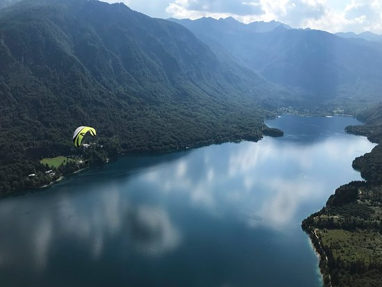 Paragliding above Lake Bohinj.