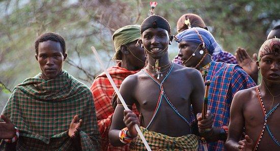 Maasai men in the nearby village.