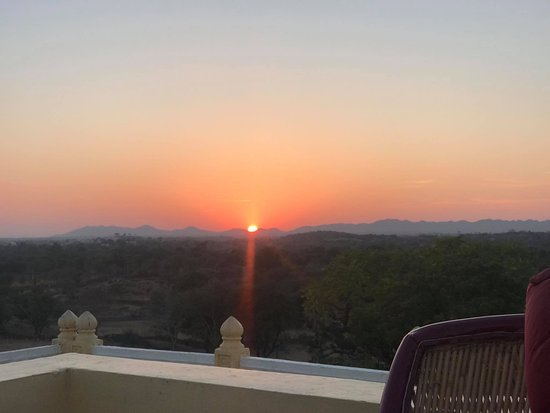 Sunset view from Deogarh Hills rooftop