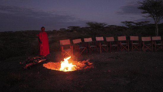 Wildlife Expedition & Safaris: Maasai Boma fireplace in Middle of Serengeti
