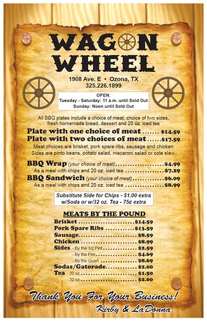 Ozona, TX: Our current official menu