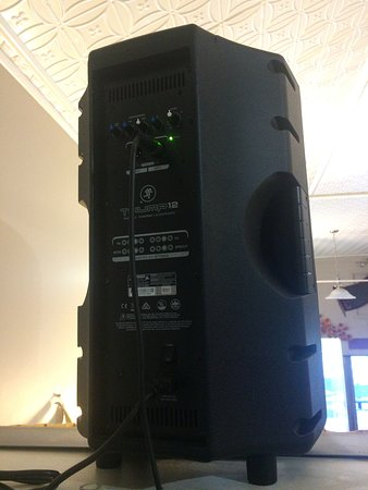 Very reliable and top quality 1000 W Mackie speakers x 2 - rear view