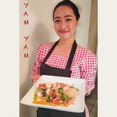 """Yam Wun Sen"" Thai glass noodle salad @YAM YAM Thai & Western Restaurant Yogyakarta   #YamYamThaiRestaurant #YamYamThaiYogyakarta #ThaiChefJ"