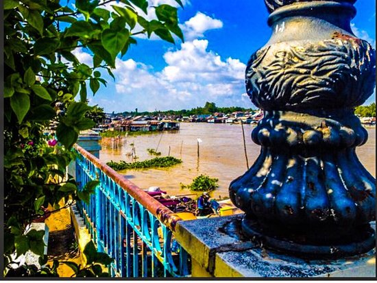 Vietnam: Tributary of Mekong River in delta town Chau Doc on Cambodian border