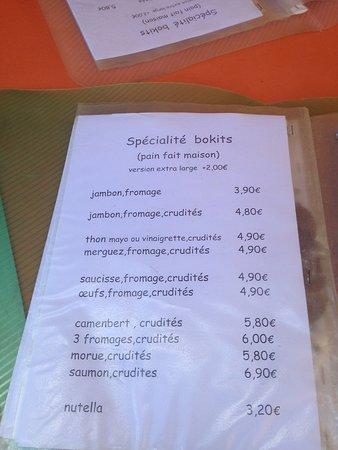 Snack Boubou Bokits: Carte