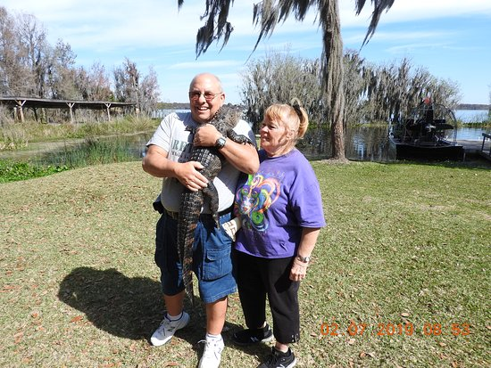 1-Hour Airboat Tour on Lake Panasoffkee: Everyone gets a chance to hold a live alligator