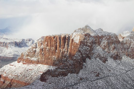 Aerial view of Zion park scenery