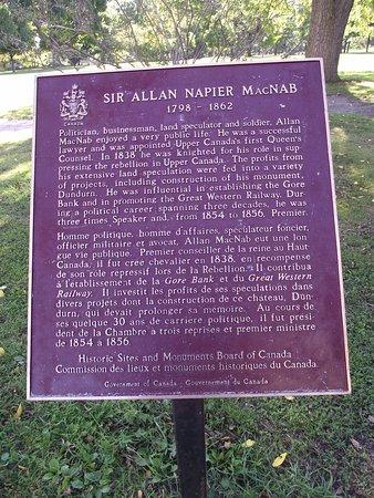 CANADA - HAMILTON - DUNDURN CASTLE #2 - INFO BOARD ON SIR ALLAN MACNAB