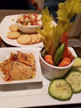 Bucksport, ME: Hummus and Vegies and something like a bruchetta with feta.  I wish I showed the shrimp dishes.