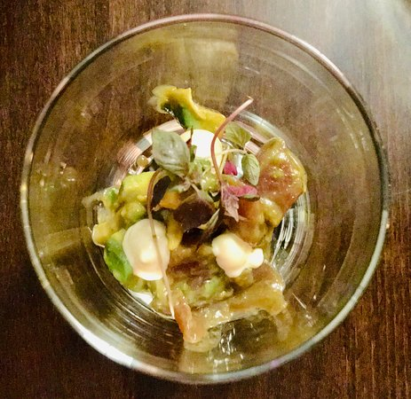 Koj: Mukozuke - tuna and avocado tartare, ponzu, togarashi, wasabi mayo