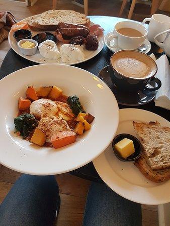 Full Irish breakfast... Eggs menemen both with lovely sourdough bread.