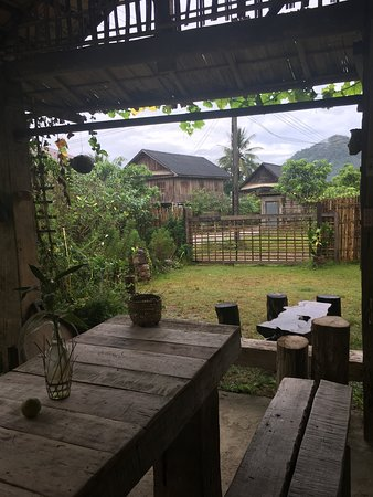 Nong Khiaw, Laos: View from the place you can eat on the property. It's so serene and gorgeous.