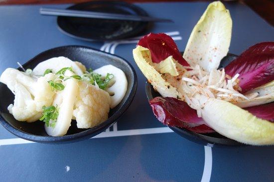 Koj: Side dishes: cauliflower and lotus root; chicory salad
