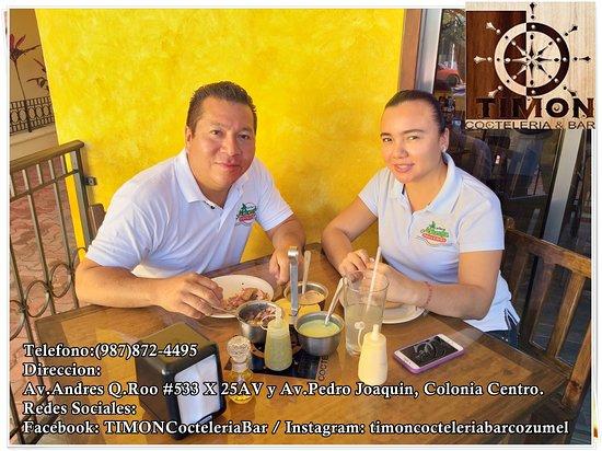 TIMON Cocteleria Bar en la Isla de Cozumel es un nuevo restaurante de mariscos ubicado en la 11av entre 25 y 30 #533 Colonia centro. Tenemos precios accesibles para todos los locales y extrangeros! Ya sea para comer con nosotros o para llevar, TIMON es ahora una opcion mas para tu paladar! *Tortas, Tacos de Camaron o Pescado empanizado *Empanadas de Camaron con Queso de Bola *Ceviches de caracol, pulpo, pescado, mixto   Y otros ricos platillos para su paladar. Telefono: 8724495 / Cel:9871172454