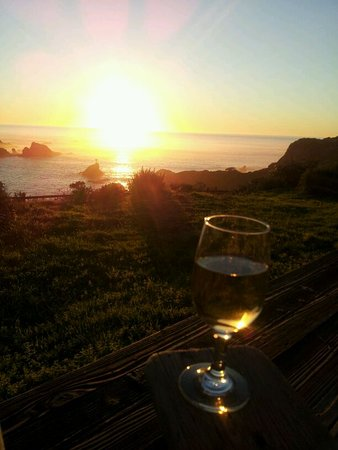 Albion, CA: Sunset view from the private deck