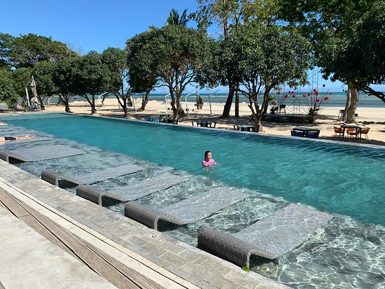 Shows a luxury hotel swimming pool in Puerto Princesa