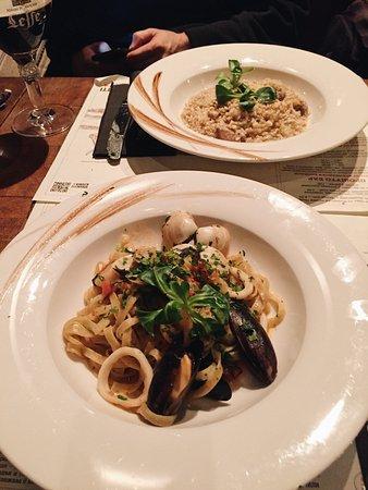 Spaghetti and risotto