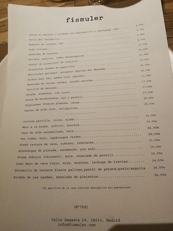 Carta Picture Of Fismuler Madrid Tripadvisor