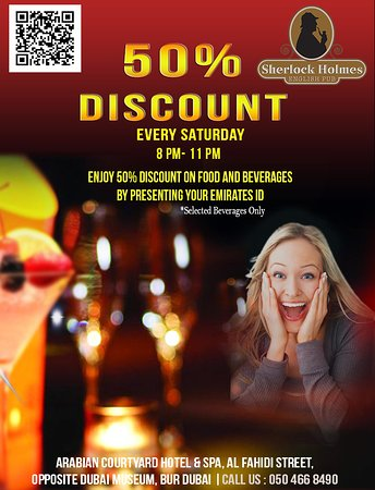 Every Saturday get 50% discount on selected beverages