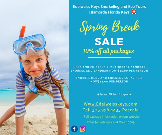 Florida Keys, FL: Spring break promotion. 10% off all packages. And remember we can customize a package to your time and budget. Call today.