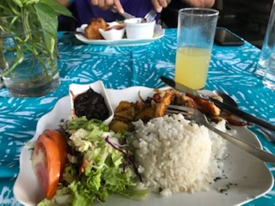 Restaurante Jauja: My meal, casado, a tradicional Costa Rican dish; delicious and included the drink.