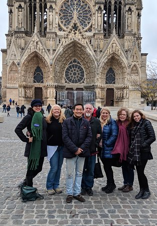 Our group outside of Reims Cathedral