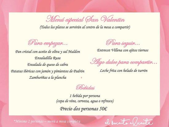 El Bocaito: Menu especial San Valentin restaurante Alicante