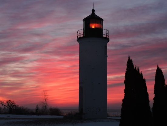 Whiskey Point Lighthouse is less than 2 mile walk from Oakwoods Lodge!